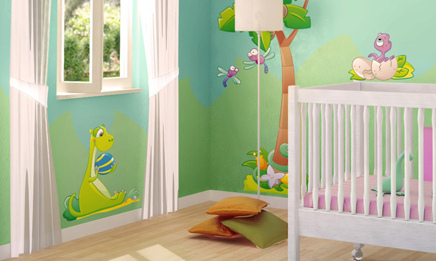 Stickers murali bambini cameretta cuccioli di dinosauro for Decorazioni camerette bambini